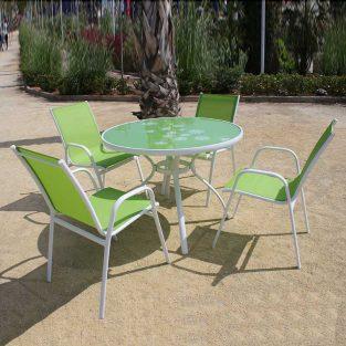 Conjunto de Jardín África en aluminio y textiline